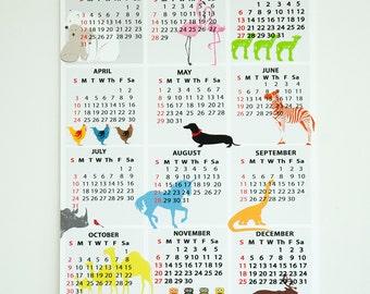 2016 Wall Calendar - Nursery Calendar, Animals, New year gift, Christmas, 2016 Wall calendar, kids calendar, Gift Ideas, Nursery Calendar