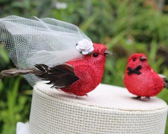 Bird Wedding Cake Topper in Lipstick Red Tinsel: Bride & Groom Love Bird Cake Topper -- LoveNesting Cake Toppers