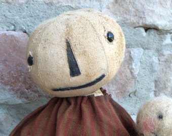 Primitive Nina Pumpkin Doll Halloween Folk Art