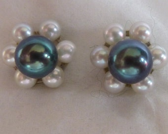 Black pearl with white pearl Earring Jackets in 14kt White Gold