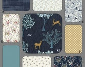 Woodland Navy Boy Baby and Crib Bedding in Navy Blue, Turquoise and Tan - The Enchanted Collection