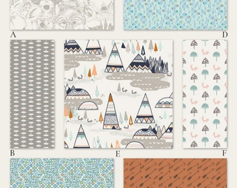 Boy Woodland Baby and Crib Bedding in Aqua Orange and Navy - Indian Summer in Mystic
