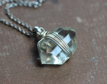 Citrine Necklace Silver Wire Wrapped Light Yellow Gemstone Necklace Yellow Necklace Geometric Hexagon Rustic Jewelry Citrine and Silver