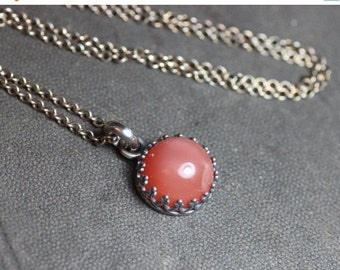 On Sale Peach Moonstone Necklace Crown Sterling Silver Chain Bezel Setting Moonstone Cabochon Necklace