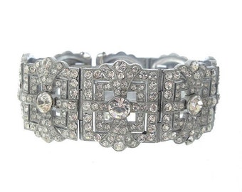 Czech Art Deco Antique Bracelet, Vintage Statement Rhinestone Crystal Cuff, 1920s Art Deco Jewellery, Fine Wedding Jewelry