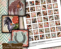 1X1 Collage Sheet - Wild Horses Collage Sheet - Horse Image Sheet - Cowgirl Inchies - Wild West Images - Calico Collage - Instant Download