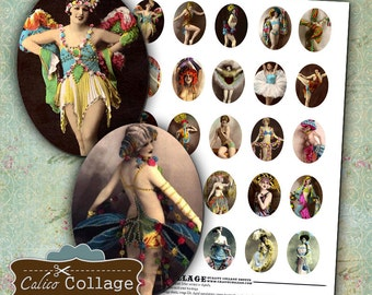 Burlesque Dancers Digital Collage Sheet 30x40 Oval Cameo Images for Pendants Decoupage Paper Vintage Burlesque Women Calico Collage Graphics