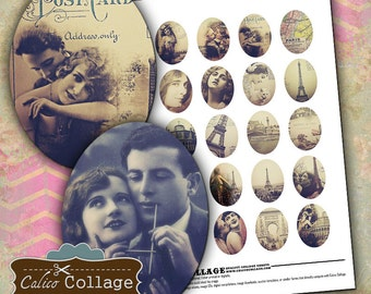 Paris Dreams 30x40mm Oval Digital Collage Sheet Pritnable Images for Pendants, Cameos, Bezel Settings, Cabochon, Vintage Printables