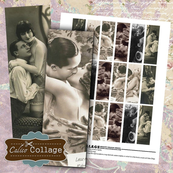 Vintage Couple, 1x3 Collage Sheet, Microslide Images, Printable Ephemera, Valentines Day, Vintage Images, 1x3 Inch Collage