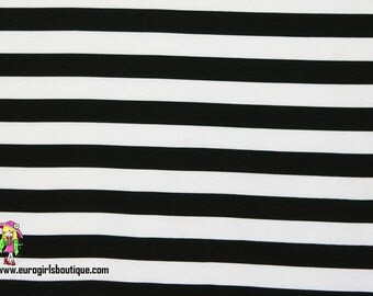 """Black and white 1"""" stripes knit cotton spandex made in USA"""