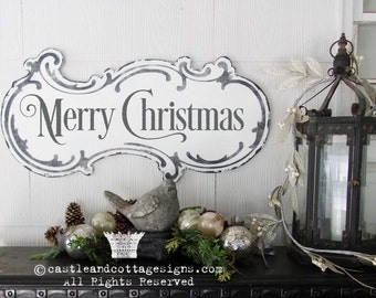 Merry Christmas Vintage Christmas Sign Hand Painted Ornate Cottage Sign Chippy Distressed Lettering Free Shipping Castle And Cottage Signs