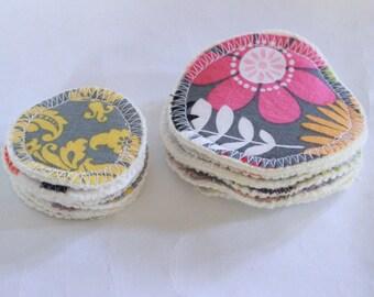 12, hemp fleece,cotton,cloth, makeup remover pads,2 sizes