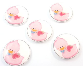 """5 Bright Pink Rubber Ducky  Buttons. 3/4"""" or 20 mm. Duck Sewing, knitting or crochet."""
