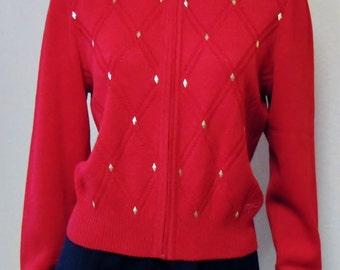 ST JOHN by Marie Gray Lipstick Red Cardigan Sweater Size Petite