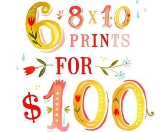 SALE - Set of 6 8x10 Art Prints | Inspirational Wall Art Discount