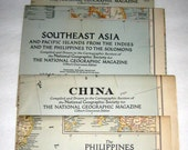 5 Vintage (1944, 1945) National Geographic Maps - China, Japan, Southeast Asia, Japan and Korea, The Philippines