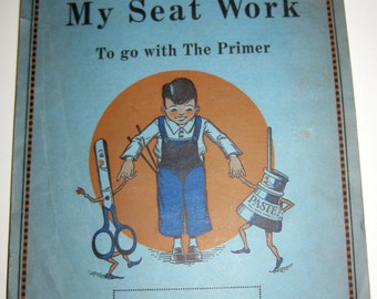 Vintage (1930) My Seat Work - Primer Workbook for The New Path to Reading -Used - Great for Paper Crafting