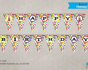 Gumball Happy Birthday Party Pennant Banner, Bubblegum Bubblegum, DIY Printable Party Decoration, Instant Download #B122