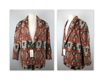 Vintage 90s NOS Blanket Jacket by Rainforest L Navajo American Indian influenced