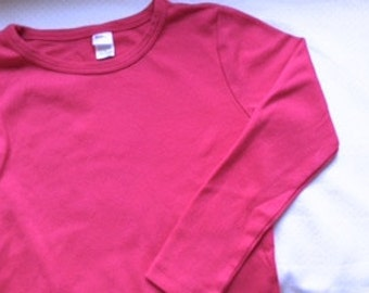 Long sleeve plain  blank t-shirt from Monag : dark rose/pink