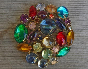 Weiss Rhinestone Brooch, Multi Colored Faceted Cuts and Cabochons