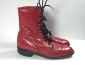 Vintage Justin Boots Red Leather Lace up Combat size 7 7.5