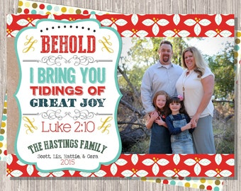 Tidings of Great Joy Photo Christmas Card :Kraft Brown and Red Custom Photo Holiday Card