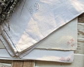 Vintage Lovely French Hand Loomed Linen Monogrammed Towels