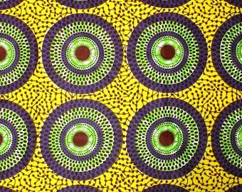 African Fabric 1/2 Yard Cotton YELLOW GREEN PURPLE Circles Dots