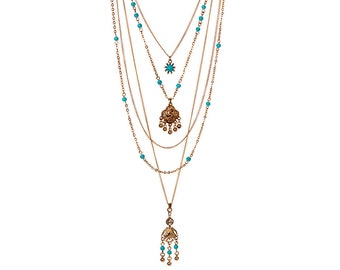 Turquoise Multi Strand bohemian necklace