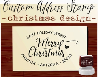 Merry Christmas Happy Holidays design  SELF INKING custom Return Address Stamp --- Style HS 1812