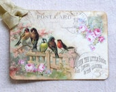 Colorful Song Birds On A Fence Gift or Scrapbook Tags or Magnet #22