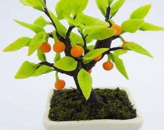 Miniature Polymer Clay Flowers Supplies Orange Bonsai 1 piece