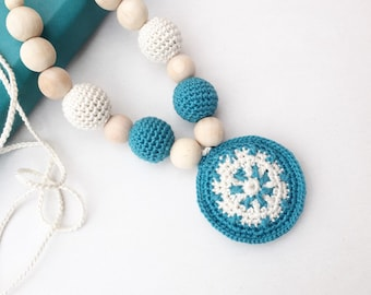 Nursing necklace - Teething pendant - Teal necklace - teething toy - baby shower gift - Mother day