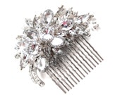 Ritzy Hair Comb with Rhinestone - Vintage Style Hair Piece - Silver Crystal Bridal Comb - Wedding Hair Comb - Rhinestone Brooch