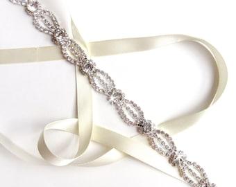 Ethereal Rhinestone Ribbon Bridal Belt - Silver and Crystal Rhinestone Belt - Crystal Wedding Dress Belt - Extra Long