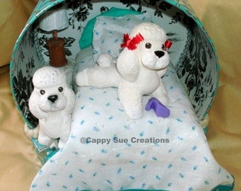 Poodle dog lovers small hatbox diorama dogs being cute and eating shoes.