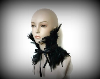 Feather Choker, Feather Collar, Black Feather Neck Corset for Costumes, Burlesque, Photo Shoots, Special Events