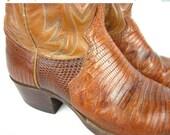 50% Off Sale Vintage Snakeskin Western Boots, Mens, Justin, 7D
