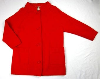 Vintage 1960s Ruby Red Ski Sweater, Fine Wool, Hong Kong, Fully Fashioned