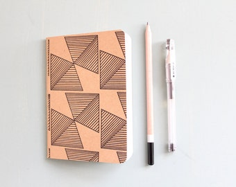Pocket Notebook-Black Geometric print, Back to School