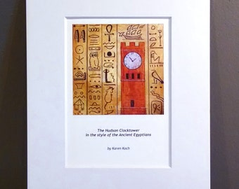 Clocktower Through The Ages: Hudson Ohio Clocktower In The Style Of Ancient Egyptian Art, Hieroglyphics, 10x8 inches, Matted, Art Print