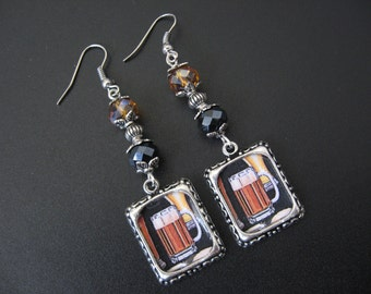 Beer Earrings, Beer Jewelry, Oktoberfest, Octoberfest, Alcohol Jewelry