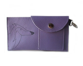 phone wallet purple leather, fox