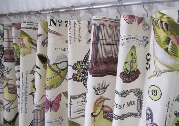 Bird Fabric Shower Curtain Cottage Style By Asmushomeinteriors