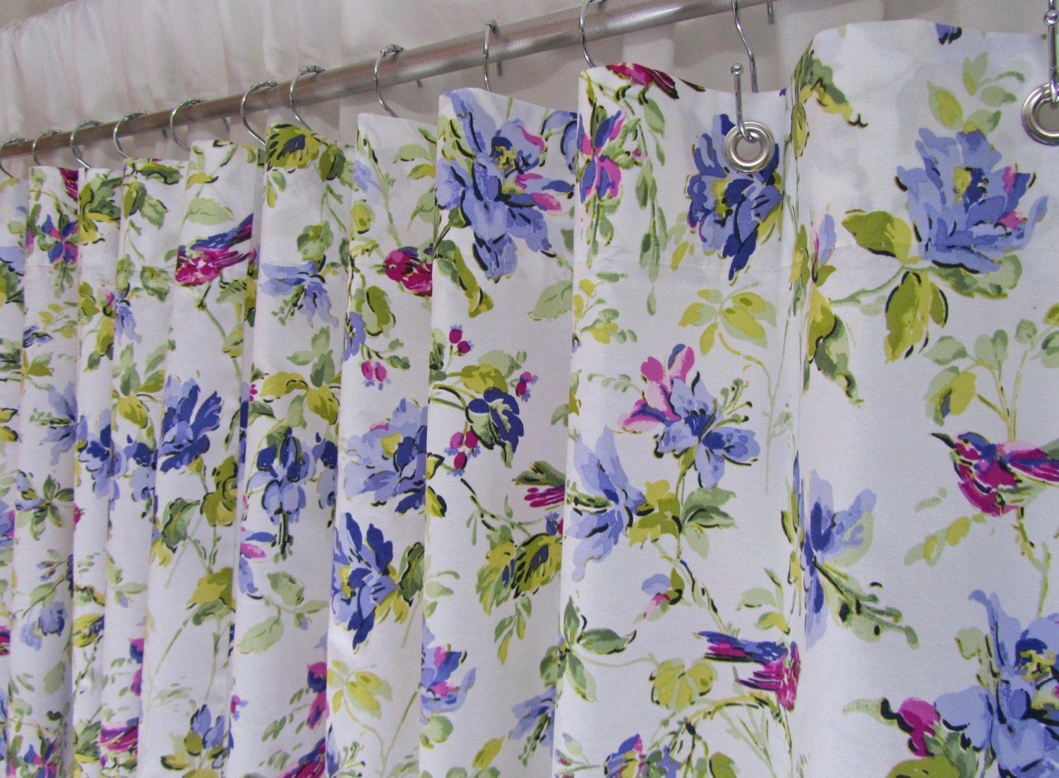 lilac fabric shower curtain purple floral by asmushomeinteriors. Black Bedroom Furniture Sets. Home Design Ideas