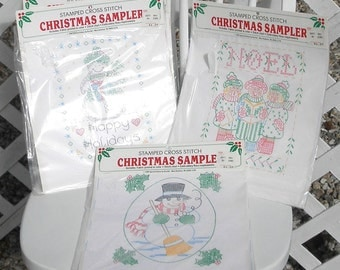 Christmas Sampler Stamped Cross Stitch Set of Four Snowman Carolers Noel
