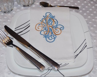 Custom Made to Order You Pick the Colors 4-pc set of Monogrammed Dinner Napkins table napkins cloth napkins from Figtreeboutique