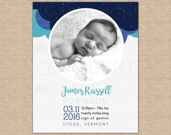 Space Birth Announcement, Baby Stats Art, Custom Birth Announcement, Birth Stats Print, Cloud Nursery, Baby Art // N-XC12-1PS AA6 06S