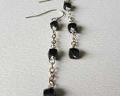 Black Spinel Cube Gemstone Earrings - Handmade Wire Wrapped Jewelry - Black Faceted Stones